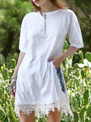 Side Vent Lace Hem Tee Dress - White