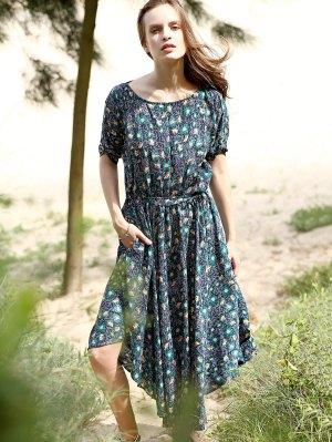Floral Print Midi Dress With Sleeves - Purplish Blue