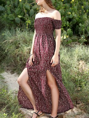 Slit Off The Shoulder Short Sleeve Maxi Dress - Wine Red