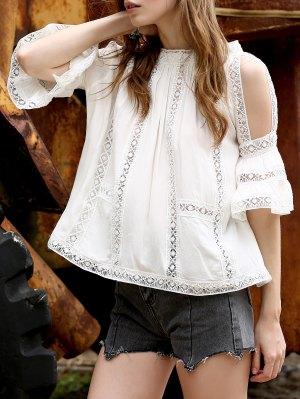 Cold Shoulder Lace Chiffon Top - White