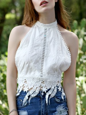 White Lace Splicing Halter Tank Top - White