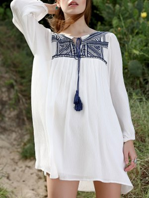 Embroidery Long Sleeve Round Neck Swing Dress - White