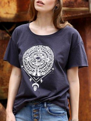 Fitting Totem Print Round Neck Short Sleeve T-Shirt - Gray