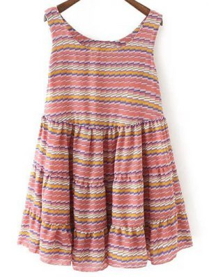 Striped Tiered Sundress - Red