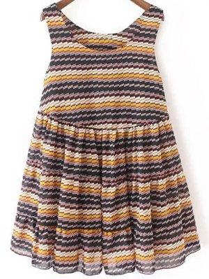Striped Tiered Sundress - Blue