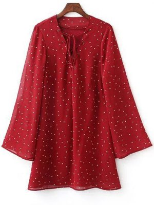 Lace-Up Stars Print Red Dress - Red