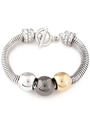Punk Big Bead Alloy Bracelet - Silver