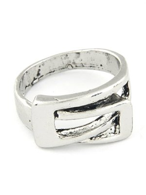Personality Belt Buckle Ring - Silver