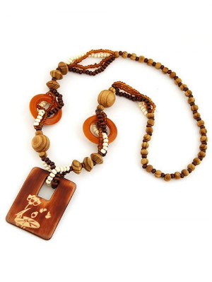 Hollow Out Wood Beaded Sweater Chain - Brown