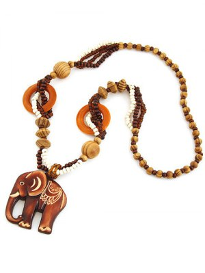 Elephant Wood Beaded Sweater Chain - Brown