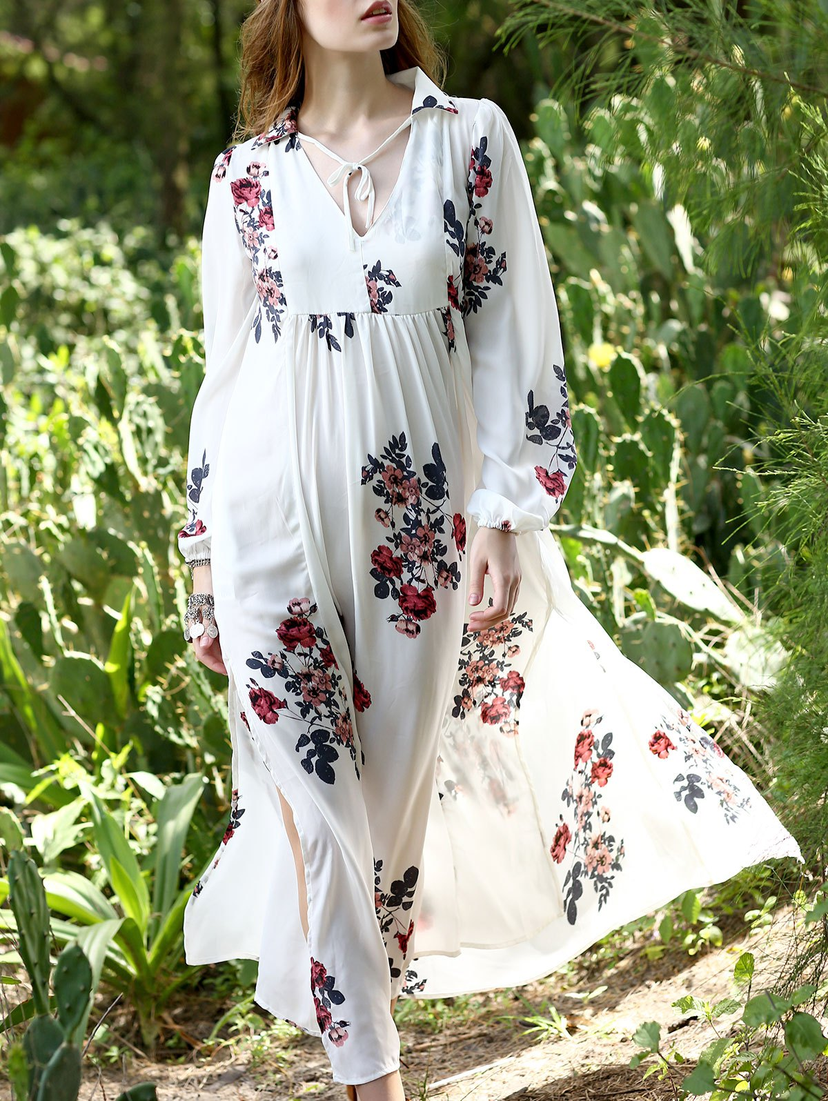 Deep V Neck Long Sleeve Floral Print Chiffon Kaftan Dress