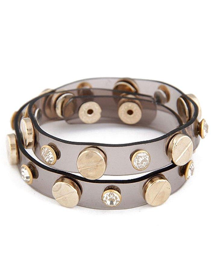 Button Rhinestone Plastic Bracelet