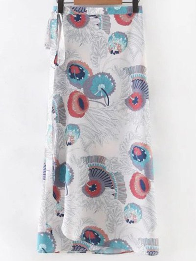 Printed Tie-Up Long Skirt