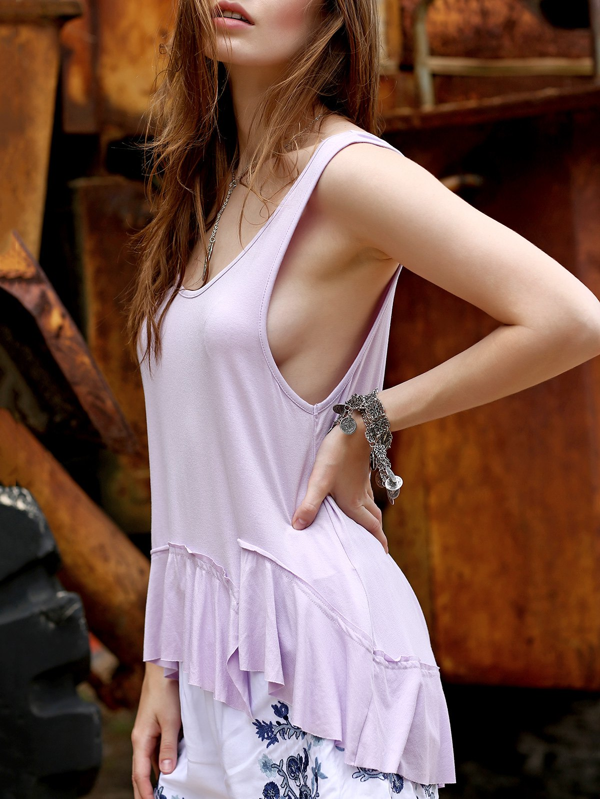 Loose Solid Color Flounce Ruffles Scoop Neck Tank Top