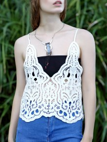 Solid Color Plunging Neck Lace Tank Top