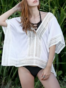 Lace Spliced Plunging Neck Bat-Wing Sleeve Cover Up