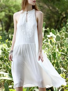 White Loose Beading Plunging Neck Sleeveless Dress - White S