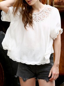 Slash Neck Lace Trim Blouse