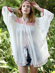 Retro Embroidered Collarless Lantern Sleeve Blouse