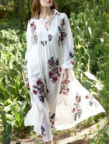 Impresión Floral De La Gasa Kaftan - Blanco