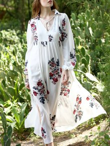 Floral Print Chiffon Kaftan Dress
