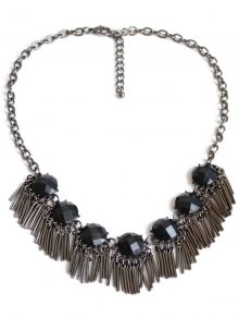 Black Acrylic Alloy Fringed Necklace