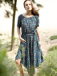 Floral Print Midi Dress With Sleeves