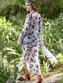 Leaf Print Collarless Kimono Blouse