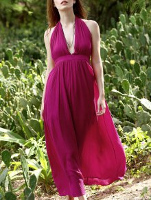 Backless Halter Neck Empire Waist Long Dress