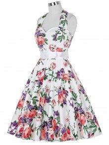 Full Floral Halter Vintage Dresses