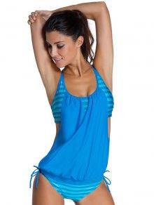 Striped Women's Tankini Bathing Suits - Blue
