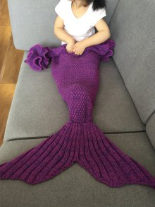Knitted Falbala Mermaid Tail Blanket - Violet