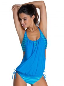 Striped Spaghetti Strap Blouson Tankini Bathing Suits - Blue M