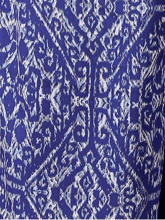 Blue Vintage Print Wide Leg Pants - BLUE L Mobile