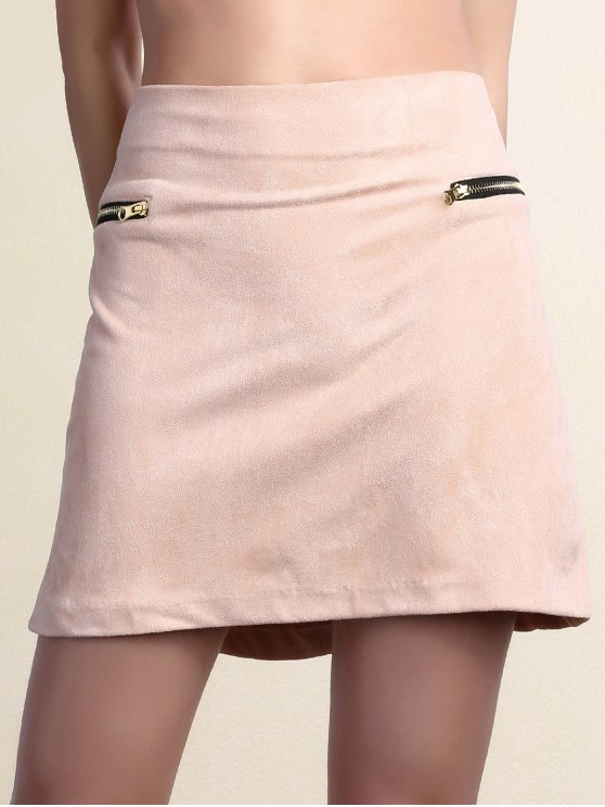 Suede Zipper Embellished Mini Skirt - PINK XL Mobile