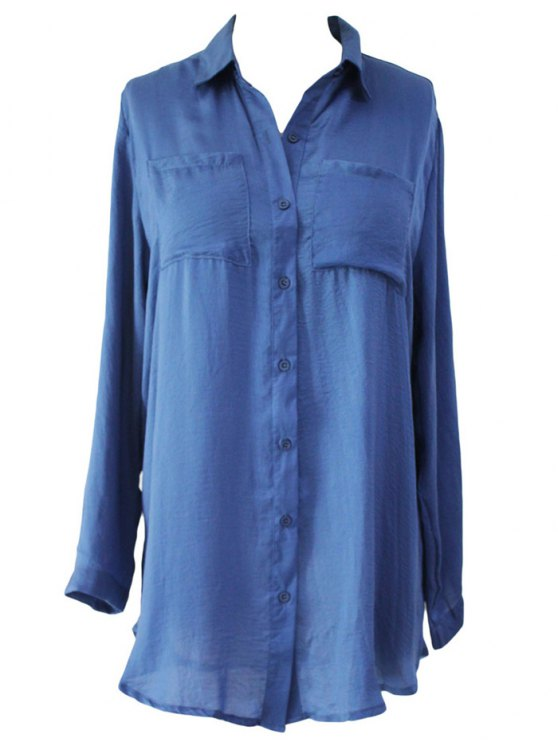 womens Shirt Collar Solid Color Long Sleeve Shirt Dress - BLUE ONE SIZE(FIT SIZE XS TO M)