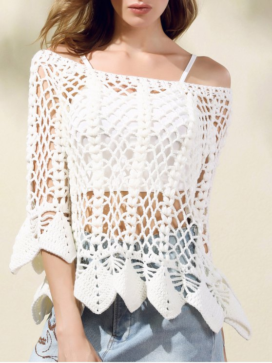 new Solid Color Cut Out Round Neck Butterfly Sleeve Sweater - WHITE ONE SIZE(FIT SIZE XS TO M)