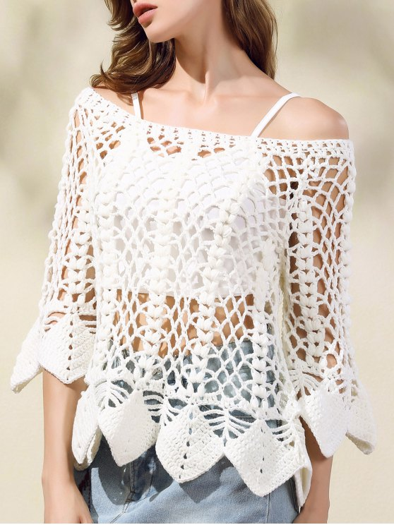 Solid Color Cut Out Round Neck Butterfly Sleeve Sweater - WHITE ONE SIZE(FIT SIZE XS TO M) Mobile