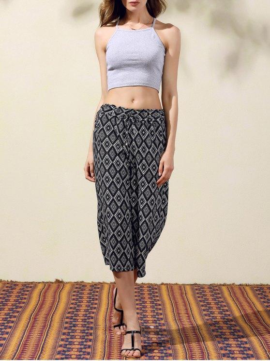 Argyle Print Wide Leg Capri Pants - BLACK L Mobile