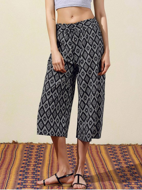 affordable Argyle Print Wide Leg Capri Pants - BLACK S
