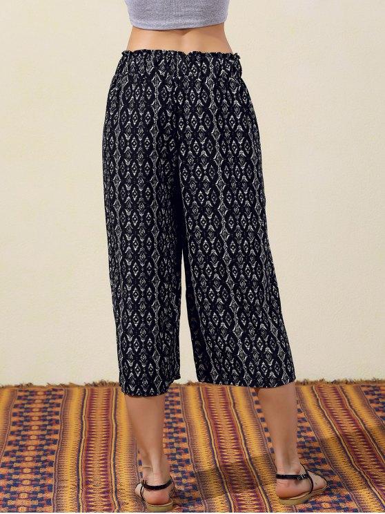 Geometric Print Wide Leg Capri Pants - BLACK S Mobile