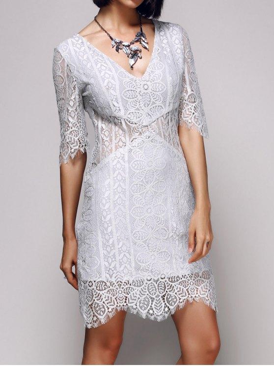 V-Neck Bodycon Lace Dress - LIGHT GRAY S Mobile