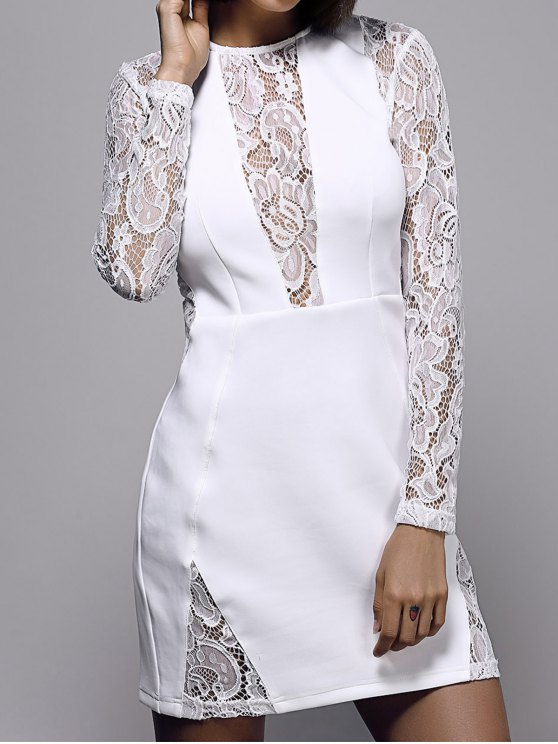 White Lace Spliced Round Neck Long Sleeve Dress - WHITE L Mobile