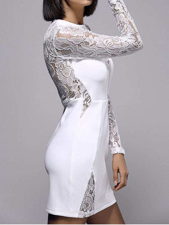 White Lace Spliced Round Neck Long Sleeve Dress - WHITE S Mobile
