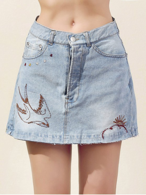 Bordado Bleach lavado de mezclilla mini falda - Azul Claro S