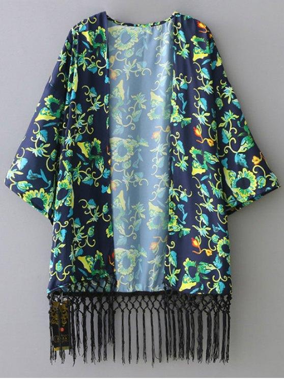 latest Green Floral 3/4 Sleeve Kimono Blouse - GREEN M