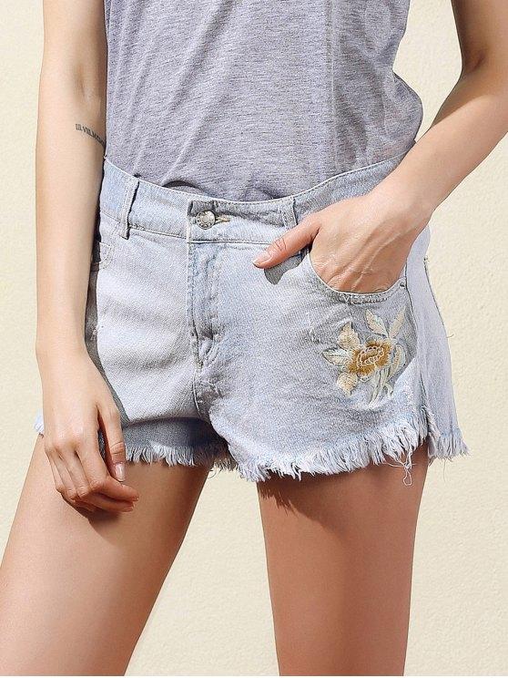 Bordado raída pantalones cortos de mezclilla - Azul Claro L