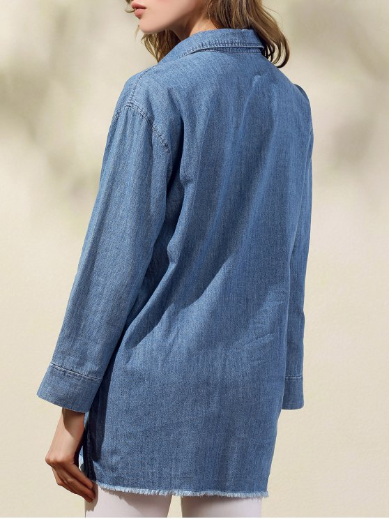 Two Pockets Oversized Denim Shirt - BLUE M Mobile