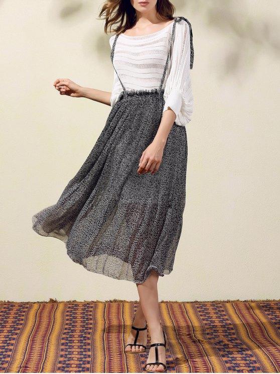 Back Criss-Cross Printed Suspender Skirt - BLACK L Mobile
