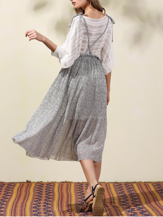 Back Criss-Cross Printed Suspender Skirt - GRAY S Mobile